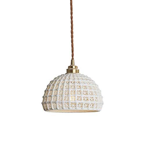 CJshop Lámpara Colgante Retro Simple de una Sola Cabeza de la lámpara de latón cerámica Pasillo Pasillo Pasillo Luz Lámpara de Techo Colgante