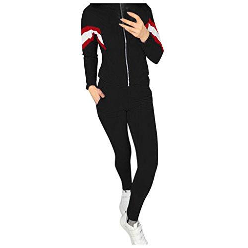 MOVERV Mujer Conjuntos Deportivos Chándales Set Deportes Gimnasio Entrenamiento de Yoga Manga Larga Sudadera + Pantalones con Capucha Color Sólido Fitness Elástico Pantalones