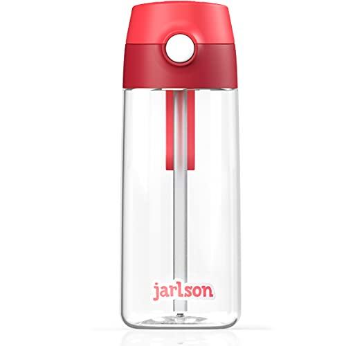 JARLSON® Borraccia Bambini, Bottiglia 500 ml, Senza BPA, Bottiglia Acqua con Cannuccia, per la scuola e l'asilo, realizzato in plastica di alta qualità (rosso)