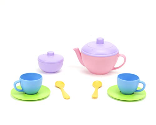 Green Toys Tea for Two - 10 Piece Pretend Play, Motor Skills, Language & Communication Kids Role Play Toy. No BPA, phthalates, PVC. Dishwasher Safe, Recycled Plastic, Made in USA.