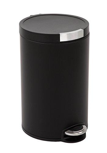 EKO Artistic vuilnisbak 20 l, metaal, mat zwart, 36,6 x 29,2 x 45,5 cm