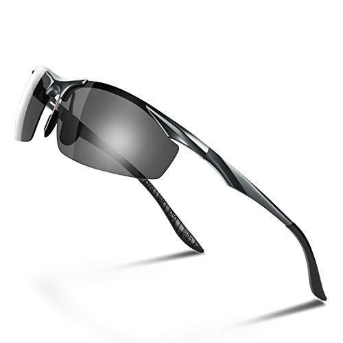 Glazata 偏光スポーツサングラス 変色調光偏光グラス 昼夜兼用・超軽量メタル UV400 紫外線カット ドライブ 野球 自転車 夜釣り/ランニング/ゴルフ/運転 男女兼用