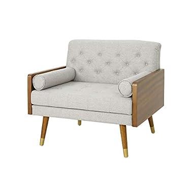 Christopher Knight Home Greta Mid Century Modern Fabric Club Chair, Beige, Dark Walnut
