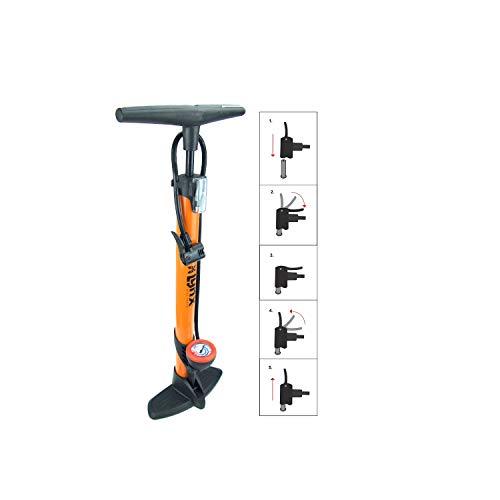 P4B | Standpumpe aus Stahl | Luftpumpe für FAHRRADREIFEN, BÄLLE, LUFTMATRATZEN | Breiter und Stabiler Kunststoff-Fuss | Mit Rundem Manometer | Fahrradpumpen | In Orange