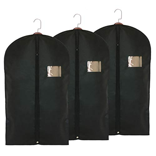Garment Storage Bags Suit Bag - Travel 39.4 Inch Coat Covers Protector with Clear Window and ID Card Holder for Dress, Jacket, Uniform - Black, Set of 3
