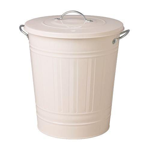 レトロ ふた付きゴミ箱 収納 分別ゴミ箱 資源ごみ ブリキ風 バケツ型ペール ホワイト 白 40L [並行輸入品]