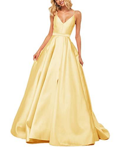 APXPF - Vestidos de fiesta con cuello en V para mujer, con bolsillos - Amarillo - 48