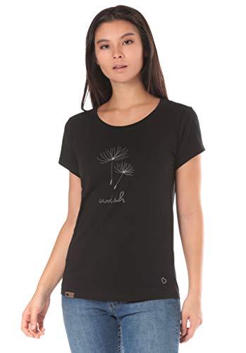 Lakeville Mountain Damen T-Shirt Arusha mit Puste-Blumen Aufdruck | Tailliertes Kurzarm Oberteil mit Rundhals-Ausschnitt | Frauen Sommer Print Bluse Tunika Tops | Sexy, Cool | Schwarz, Größe XS