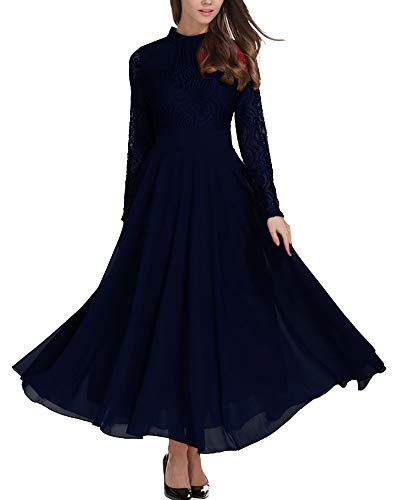 Aofur Women's Long Sleeve Chiffon Maxi Dresses Casual Floral Lace Evening Cocktail Party Long Dress (Medium, Blue) (Apparel)