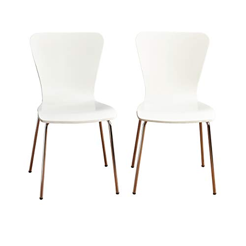 Target Marketing Systems Pisa Modern Bentwood Stackable Dining Chairs with Chrome Metal Legs, 2 Piece, White