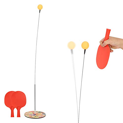 Jiawu Dispositivo de Entrenamiento de Pong para niños, Dispositivo de Entrenamiento de Pong Entrenador de Pong con 2 Raquetas y 3 Pelotas para Jugar en Interiores y Exteriores