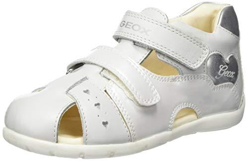 Geox B Kaytan A, Zapatos de Primeros Pasos Niñas, White Silver C0007, 19 EU