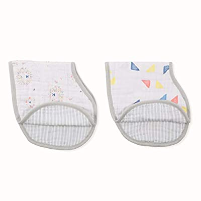 aden + anais Burpy Baby Bib, 100% Cotton Muslin, 4 Layer Multi Use Burping Cloth, Super Soft & Absorbent Burp Rag for Infants, Newborns and Toddlers, 2 Pack, Leader of The Pack