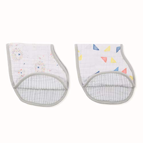 """aden + anais Burpy Bib, 100% Cotton Muslin, Soft Absorbent 4 Layers, Multi-Use Burp Cloth and Bib, 22.5"""" X 11"""", 2 Pack, Leader Of The Pack"""