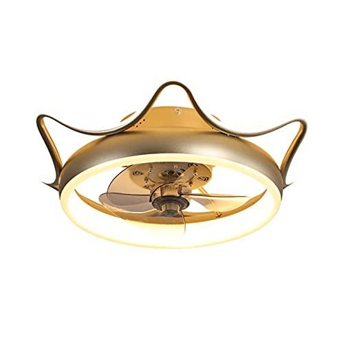 Lámparas de araña Luces de ventilador de techo, luces LED de conversión de frecuencia, control remoto inteligente, luces de ventilador de techo silencioso, estudio de la habitación para niños en casa