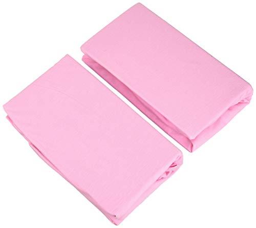 Doppelpack FabiMax 3571 Jersey Spannbettlaken für 6-eck Laufgitter, rosa