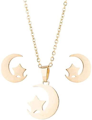ZQMC Collar Mujer Conjunto de Joyas de Navidad Collar Pendientes Geométrico Luna Estrella Colgantes Conjuntos de joyería de Acero Inoxidable Pendientes Conjunto de Collar