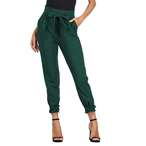 GRACE KARIN Damen Elegant Locker Yoga Hose Bleistifthosen Mode 9/10 Lang Hose Dunkelgrün CL010903-7_L