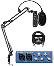 AKG P120 Large-Diaphragm Condenser Microphone for Vocals and Instruments Bundle with PreSonus AudioBox USB 96 2x2 USB Audio Interface Blucoil Boom Arm Plus Pop Filter and 10-FT Balanced XLR Cables