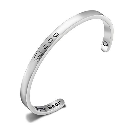 Mama Bear Bracelet with 1 2 3 Cubs Adjustable Bangle Bracelet Mom Gifts (3 cubs cuff)