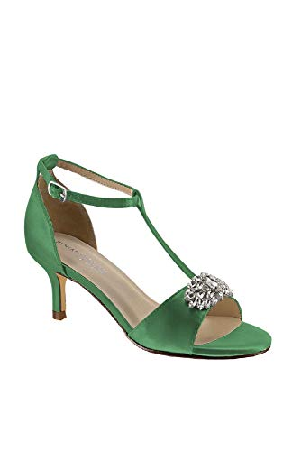 Satin T-Strap Sandals with Crystal Embellishment Style Ophelia, Clover, 7