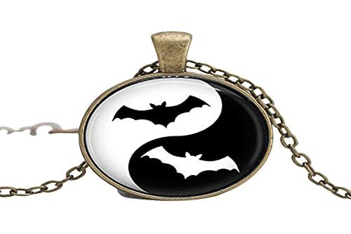 Ying Yang Bat Art - Collar de cristal para mujer