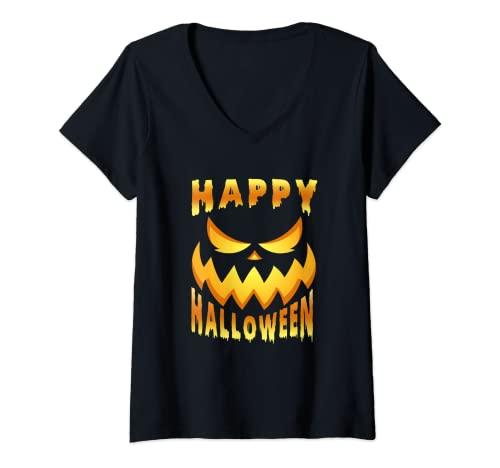 Mujer Cara de calabaza terrorfica para Halloween. Camiseta Cuello V