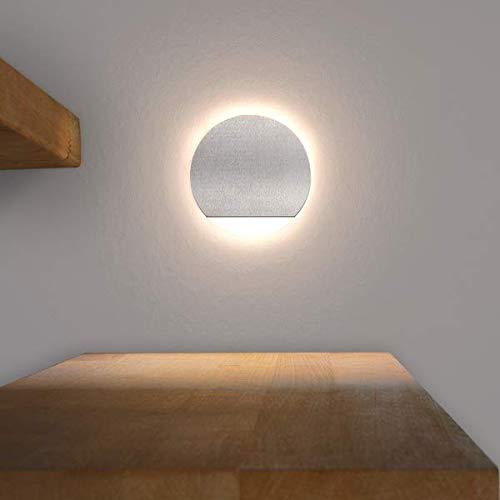 LED Treppenbeleuchtung Rund aus Aluminium und Plexiglas für Schalterdoseneinbau 68mm - Warmweiß 3000K [Stufenbeleuchtung - Wandbeleuchtung - indirekt]