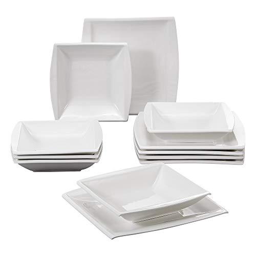 MALACASA, Serie Blance, Vajillas de Porcelana, 12 Piezas, 6 Platos Hondos, 6 Platos de Cena para 6 Personas Blanco