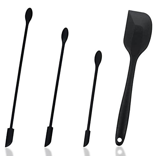Mini Silicone Spatula Set - simyron 4Pieces Small Silicon Scraper, Lotion Stirrer Handle for Cooking Baking Mixing, Makeup Silicone Spatula for Sampling Beauty Products-Black