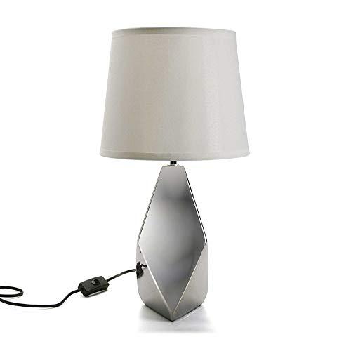 VERSA 21280010 tafellamp voet zilver glanzend keramiek met stoffen kap wit