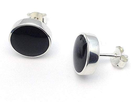 10mm Whitby Jet and sterling silver stud earrings Handmade in whitby