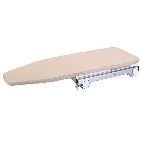 Nisorpa Tabla de planchar plegable de madera giratoria 90° con cubierta resistente al calor para ahorrar espacio, 810 x 310 mm (plegable)