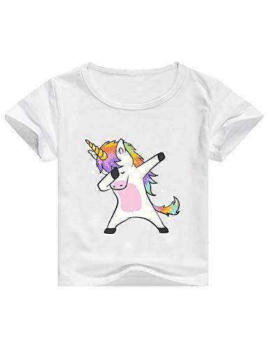 Camisetas Unicornios para Niñas Dibujos Animados Casual Camiseta de Verano Camisetas Niña de Manga Corta Tops T-Shirt (Blanc, 130cm)