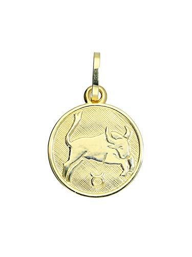 Sternzeichen Anhänger Stier (Ohne Kette) Gelbgold 333 Gold (8 Karat) Ø 12mm Rund Tierkreiszeichen Horoskop Kettenanhänger Zodiac round A-06017-G303-Sti