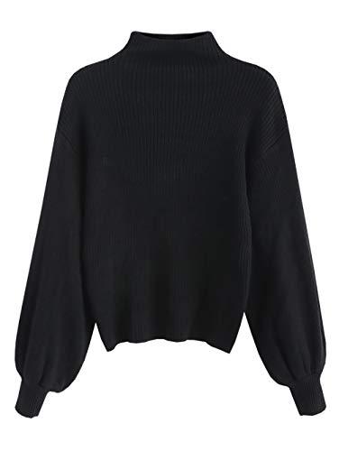 ZAFUL Damen Laterne Ärmel Stehkragen Pullover Sweater Einfarbige Bluse Sweatshirt Pulli Frauen Langarm(Schwarz)