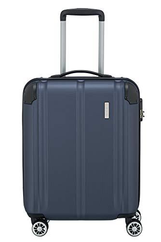Travelite 4-Rad Handgepäck Koffer erfüllt IATA Bordgepäckmaß, Gepäck Serie CITY: Robuster Hartschalen Trolley mit kratzfester Oberfläche, 073047-20, 55 cm, 40 Liter, marine (blau)