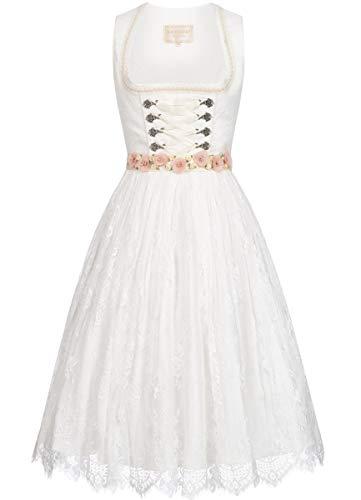 Krüger Collection Damen Trachten-Mode Midi Hochzeitsdirndl Martina in Ecru traditionell, Größe:32, Farbe:Ecru