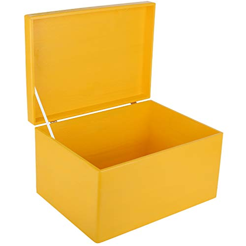 Creative Deco XXL Amarilla Grande Caja de Madera para Juguetes | 40 x 30 x 24 cm | con Tapa Cofre para Decorar Almacenaje de Documentos, Objetos de Valor