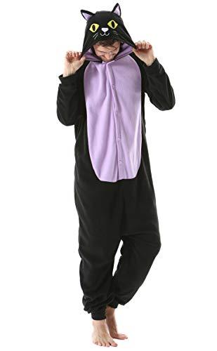 Pijama Animal Entero Unisex para Adultos con Capucha Cosplay Pyjamas Ropa de Dormir Kigurumi Traje de Disfraz para Festival de Carnaval Halloween Navidad Gato