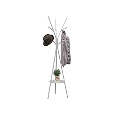 Homebi Coat Rack Hat Stand Free Standing Display Hall Tree Metal Hat Hanger Garment Storage Holder with 9 Hooks for Clothes Hats and Scarves in White,17.72  Wx17.72 Dx70.87 H