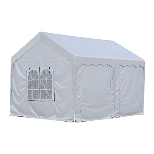Outdoor Gazebo Garden Canopy Party Wedding Shelter 3 x 4m Six Sides Two Doors Waterproof Tent with Spiral Tubes White