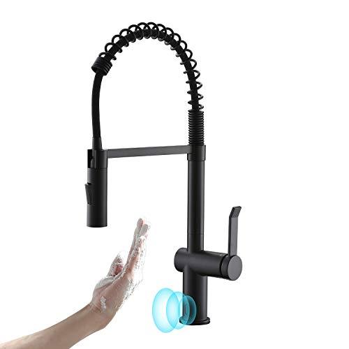 APPASO Touchless Sensor Wasserhahn Küche, Küchenarmatur 360° Drehbar, Spültischarmatur mit 20 Zoll Ausziehbar Brause, Spiralfederarmatur Zinklegierung mit 2 Strahlarten- Hochdruck | Mattschwarz