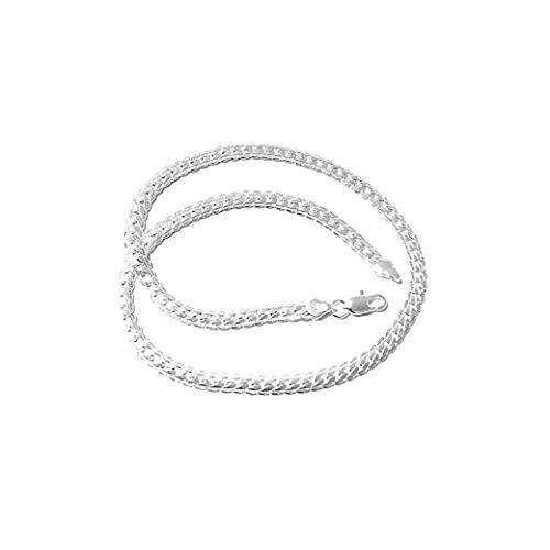 Ohomr 5 mm Collar de Plata de Ley 925 Manera de la Cadena de joyería Plana Cubana Cadena del encintado Regalo para Hombres Mujeres Decoración Plata