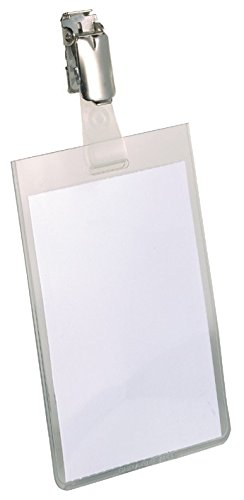 Durable 800219 Namensschild (mit Clip, 90 x 60 mm, Kunststoff) Packung à 25 Stück transparent
