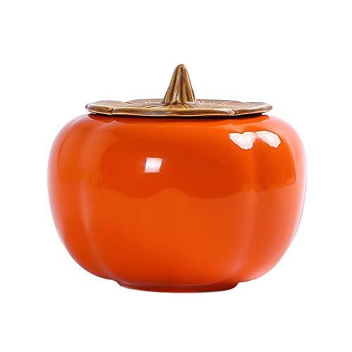 UPKOCH - Tarro de Almacenamiento de Alimentos con Forma de Calabaza, Recipiente de cerámica para Caramelos con Tapa para Restaurante casa, Porcelana, Naranja, 8 * 8 * 8 cm