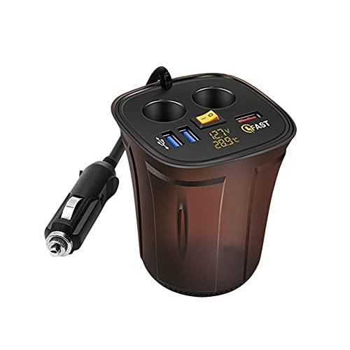 Titular de la taza de coches Voltímetro de encendedor de cigarrillos 12V USB Cargador de enchufe Temperatura 12V Cargador voltaje QC3.0 USB Coche Rápido (Color : Black)