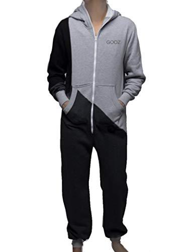 Rocking Socks Onesie Jumpsuit Overall voor dames en heren - met strepen, gekleurd als een full-body pak, vrijetijdspak, huispak, één stuk strampler trainingspak pyjama (S/M unisex (Grey / Black))