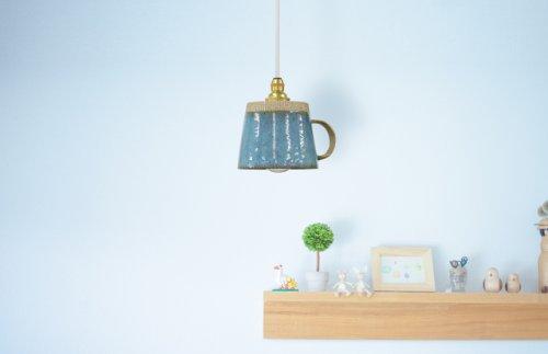 ライティングレール用ペンダントライト タイプ「陶器カップ青」 B26R17-10W 落ち着きのある色合い、陶器らしさがあふれたお洒落な青。■口金:E17■長さ:1m