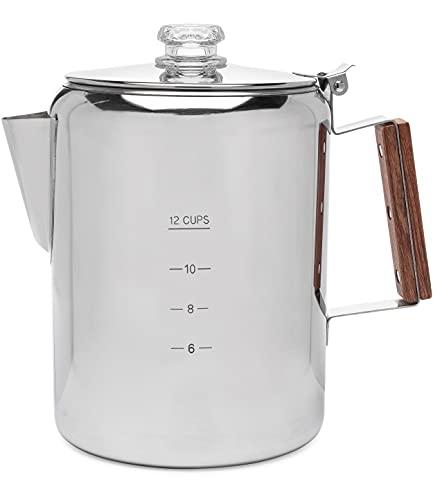 COLETTI Bozeman Camping Coffee Pot – Coffee Percolator – Percolator Coffee Pot for Campfire or Stove Top Coffee Making – 12 CUP